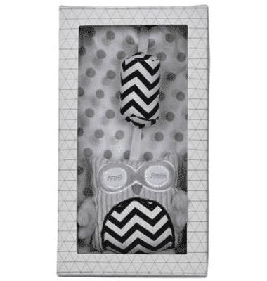 ES Kids - Grey Muslin and Owl Pram Toy 2Pcs Gift Set
