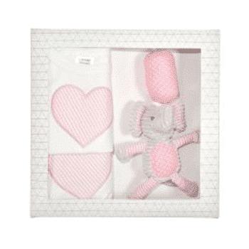 Es kids 3pcs pink dots elephant baby gift set es kids 3pcs pink elephant baby gift box negle Choice Image