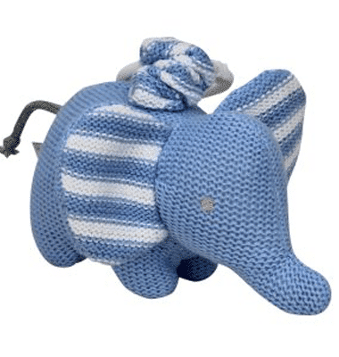 ES Kids - Blue Knitted Elephant Pram Toy