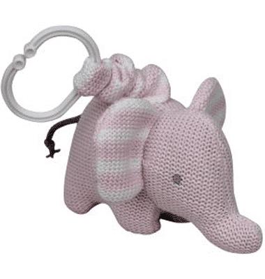 ES Kids - Pink Knitted Elephant Pram Toy