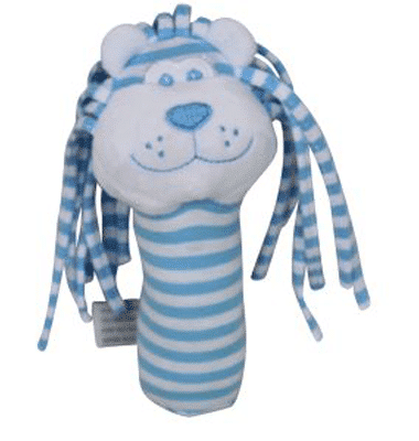 ES Kids - Blue Stripe Lion Stick Rattle