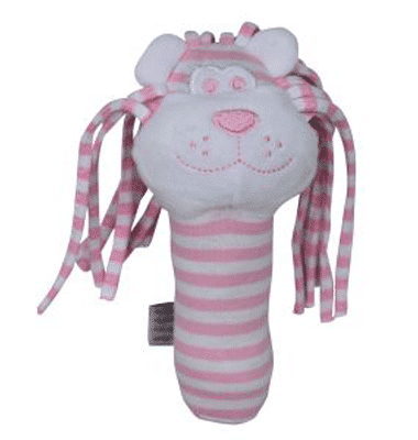 ES Kids - Pink Stripe Lion Stick Rattle