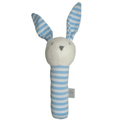 ES Kids - Blue Stripe Bunny Stick Rattle