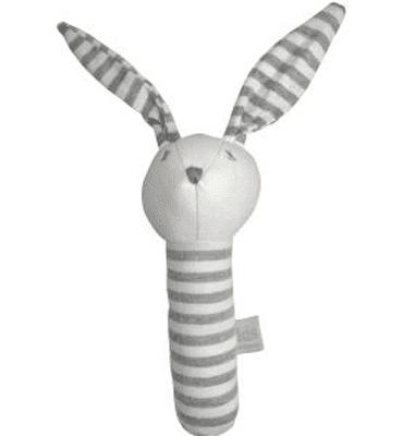 ES Kids - Grey Stripe Bunny Stick Rattle