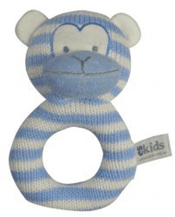 ES Kids - Blue Knitted Monkey Ring Rattle