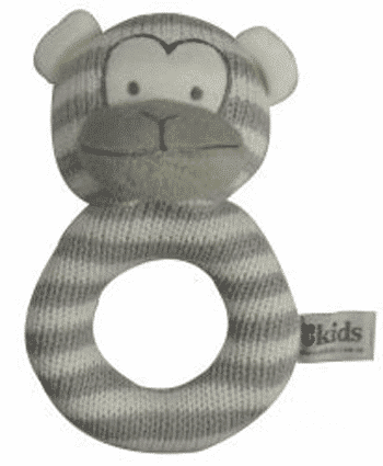 ES Kids - Grey Knitted Monkey Ring Rattle