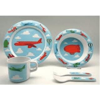 ES Kids - 5-Piece Blue Aeroplane Baby Dinner Set