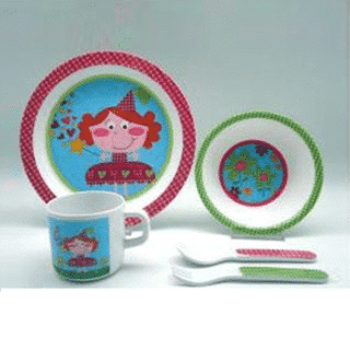 ES Kids - 5-Piece Pink Girls Baby Dinner Set