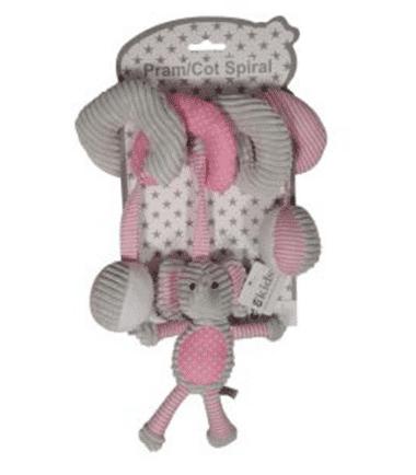 ES Kids - Pink Elephant Cot Pram Toy