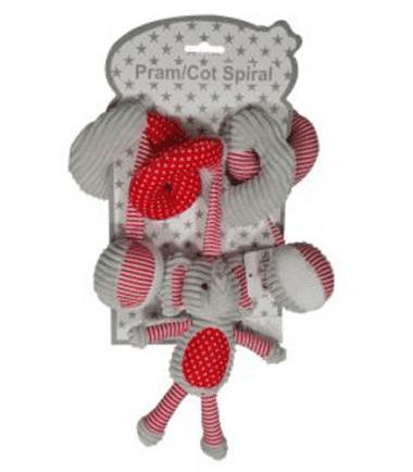 ES Kids - Red Elephant Cot Pram Toy