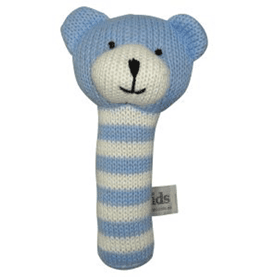 ES Kids - Blue Knitted Bear Stick Rattle