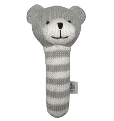 ES Kids - Grey Knitted Bear Stick Rattle