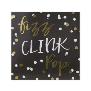 """Classic Piano Congratulations Card """"Fizz Clink Pop"""""""