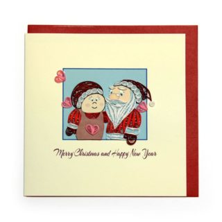 Christmas Quilling Handcrafted Card Mrs and Mr Santa Claus