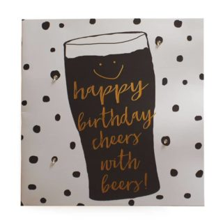 """Classic Piano Birthday Card """"Happy Birthday cheers with beers!"""""""