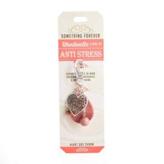 Something Forever Rhodonite Heart Bag Charm Stone of Anti Stress
