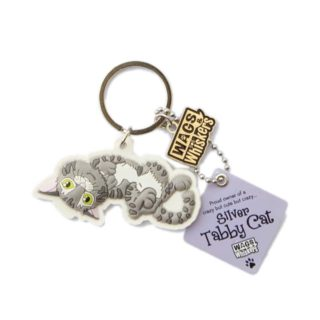 Wags & Whiskers Keyring - Silver Tabby Cat