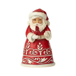 Heartwood Creek - Pint Sized Red & White Santa With Cardinal Figurine