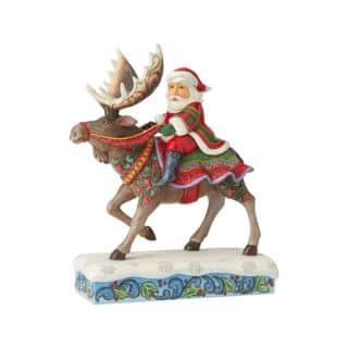 Heartwood Creek - Santa Riding Moose Figurine