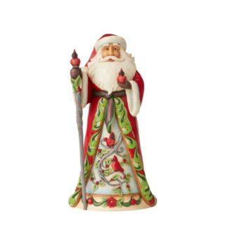 Heartwood Creek - Santa With Cardinal Scene Figurine
