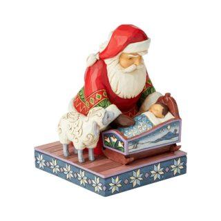 Heartwood Creek - Santa Kneeling With Baby Jesus Figurine