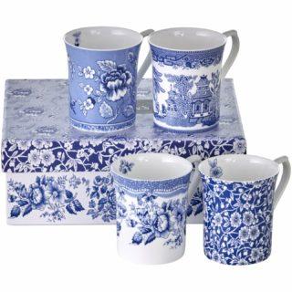Queens Mug 4AT Blue Story 2 200ml/7oz Royale Mugs (S/4)