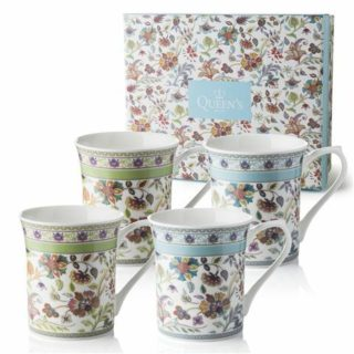 Queens Mug 2AT Antique Floral 200ml/7oz Royale Mugs (S/4)