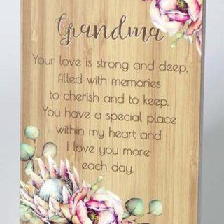 Bunch Of Joy Sentiment Plaque 18x13cm Grandma